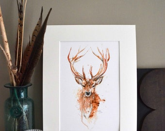 Stag print, Watercolour Stag Wall Art, The countryside Stag, Stag Illustration