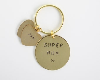Super Mum - Mothers Day Gift Hand stamped Keyring personalised with names