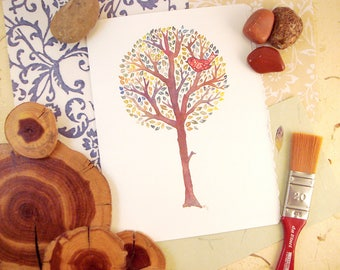 Watercolor Elm Tree Print Greeting Card