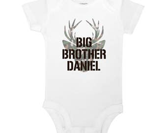Personalized Name Big Brother Deer Buck Hunting Camo Country Baby One Piece Toddler Kids Children's T-shirt