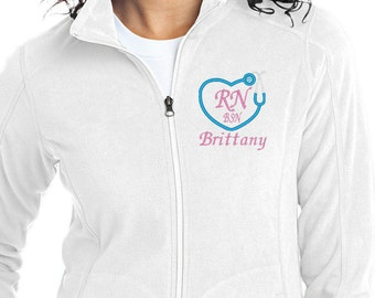 Monogram Stethoscope - Monogram Full Zip - Monogram Nurses Jacket - Monogram Fleece Jacket - RN BSN Apparel -Monogram Nurse -Medical Apparel