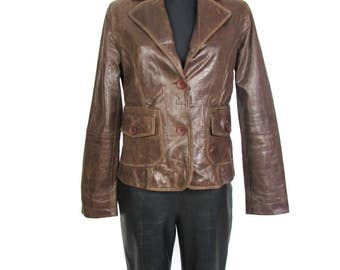 Vintage Brown Leather Jacket Coat Women Blazer Size M