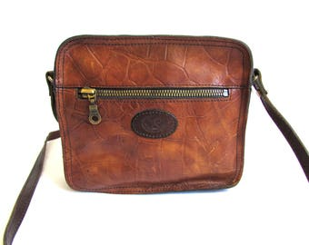 Vintage 70's 80's Sienna Brown Leather Bag Messenger // Mini Satchel Leather Bag