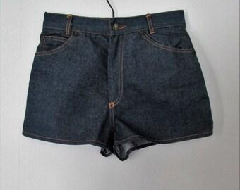 High waisted shorts, blue denim shorts, french vintage retro, hotpants, waist 25.5, x small