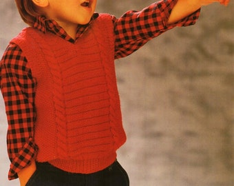 childrens cable slipover knitting pattern pdf DK v neck pullover sleeveless sweater Vintage 24-30inch DK light worsted 8ply Instant Download