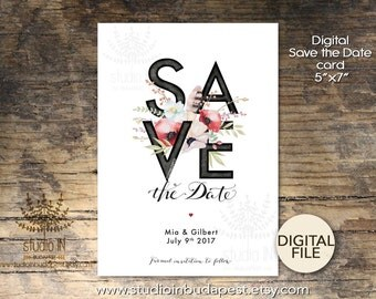 Save The Date Card, Printable Save the date card, Wedding card, floral save the date card, DIY wedding card,