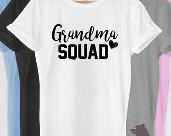 Grandma Squad Shirt Tshirt V-neck Tank T-shirt Tee Grandparents Reveal 2017 Baby Shower Nana Mom-Mom Nonna Pregnancy Announcement