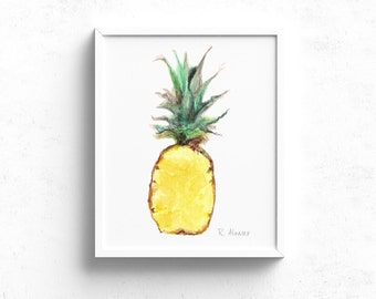 Pineapple art print - Tropical Fruit Decor - Kitchen Wall Art - Pineapple Illustration - Dining Room Art - Food Illustration
