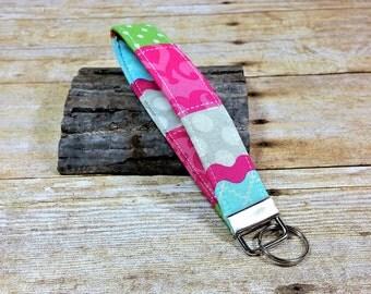 Fabric Wristlet Keychain, Fabric Wrist Key Fob, Fabric Wristlet Key Fob, Wrist Key Holder, Pink Fabric BoHo Wristley KeyChain