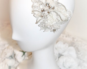 Bridal headpiece, bridal hair comb, bridal lace headpiece,Rhinestone headpiece,wedding headpiece, bridal fascinator,headdress