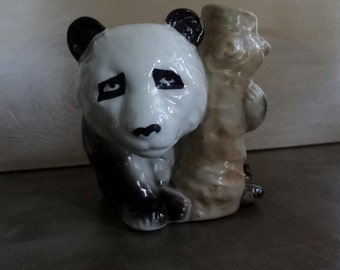 Melancholy Panda Planter // Vintage Marked Japan // Small Pens Pencils Storage Container