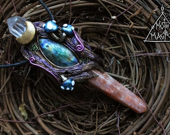 Sunstone with Labradorite and Quartz Forest Necklace