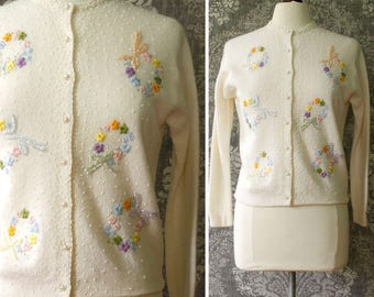 vintage 1950s/60s cardigan sweater <> 50s/60s bead and embroidered cardigan <> cream lambswool/angora sweater with flower and bow wreaths