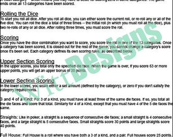 PDF 11x17 Yardzee rules - print your own - instant download