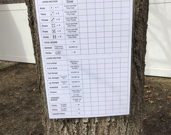 JUMBO 11x17 yardzee score card - extra big - scorecard