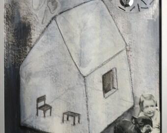 """Illustration originale encadrée """"La ville aux chiens 2"""""""