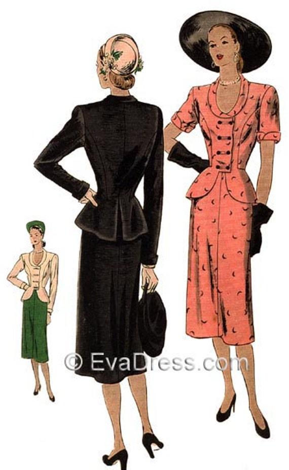 1940s Sewing Patterns – Dresses, Overalls, Lingerie etc 1946 Two-Piece Suit Dress Pattern by EvaDress $21.00 AT vintagedancer.com