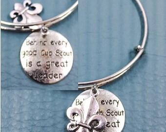 Behind every Cub Scout Leader Silver charm bracelet, inspired adjustable bangle, fleur d' lis, Boy Scout, den mother, volunteer