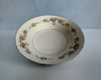 Vintage floral bowl, Homer Laughlin Eggshell Georgian bowl, soup bowl