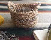 Navy Blue, Small Basket with Handles, Easter, Fruit & Veggie, Harvest, Nature, Garlic, Onion, Egg, Gift Basket, Rustic Decor, Catering Style