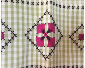 Vintage Green Gingham Half Apron, Retro Cotton Handmade Apron With Pocket.