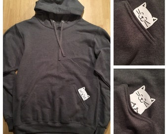 Cat Middle Finger Hoodie and Zip Up