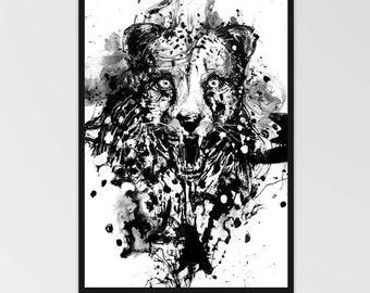 Cheetah Print, Cheetah Art, Animal Art Print, Cat Art, Black and White Animal Art, Wildlife Art, Black And White Art, Ink Art, Angry Animal
