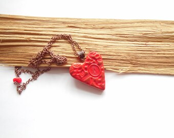 Red heart pendant red heart necklace Valentine's Day gift polymer clay jewelry red heart jewelry heart jewelery gift for her 2 in 1 jewelry