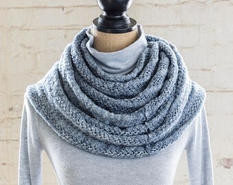 Hand Knit Infinity Scarf Lace