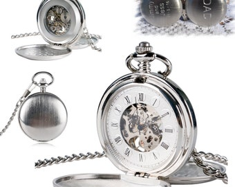 Engraved Double Cover Hand-Wind Up Mechanical Pocket Watch , Groomsmen Gift , Engraved Mens Pocket Watch, Steampunk watch, personalized Gift