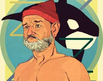 Bill Murray Team Zissou Life Aquatic Poster Print