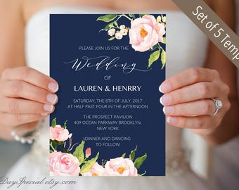 Set of 5 Peony Navy White Wedding Invitation Templates, Printable Pink Floral Wedding Invitation Suite, Invite Set, PDF Download #108