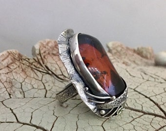 COGNAC AMBER RING, Size 7-9, Statement Ring, Handcrafted Ring, Gemstone Ring, Artisan Ring, 925 Sterling Silver