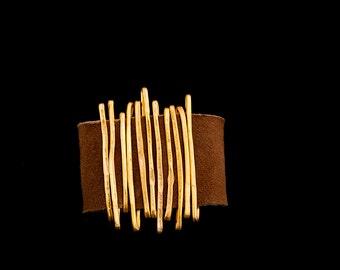 Wrap Leather Bracelet, Women Gift, Gold Wire Bracelet, Statement Bracelet, Gold Bracelet, Leather Bangle, Charm Women Bracelet.