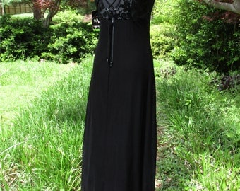 BLACK VELVET MAXI Dress, Corset Laces Back! Vintage Gothic Boho, Stevie Nicks Gypsy Witch, long sleeveless dress, floral devore bodice, NwT