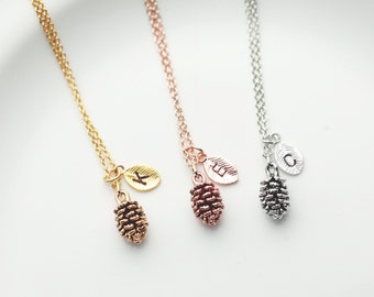 Pinecone Necklace - bridesmaid gift best friend gift Gold leaf Necklace Pine Cone Necklace - PCN