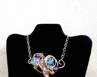 Art Nouveau Necklace, Beaded Bib Necklace, Flapper Necklace, Fashion Necklace, Gypsy Jewelry, Mod Necklace, Wire Wrapped Beaded Necklace