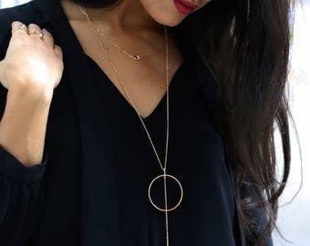 Full Circle Lariat Gold Necklace Circle Y Necklace Larce Circle Gold Necklace Large Circle Statement Necklace Big Halo Y Lariat Necklace