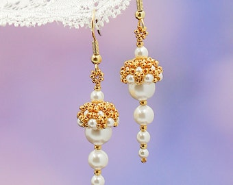 Gift-for-her gift-for-mothers day gift-for-mother-of-bride gift-for-bridesmaid gift ideas Pearl earrings Dangle earrings Gold earrings Drop
