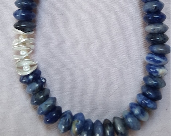 Sodalite chain in shades of blue