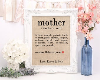 Mother's Day Gift, Definition of Mother Burlap Print