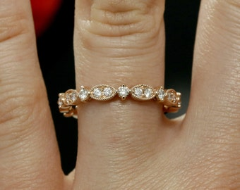 Diamond Wedding Band with Mill-grained Edges (available in white gold, rose gold, yellow gold, platinum and other gems)