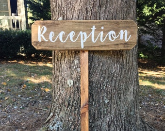 Reception Sign Wooden Wedding Signs Rustic Arrow Directional