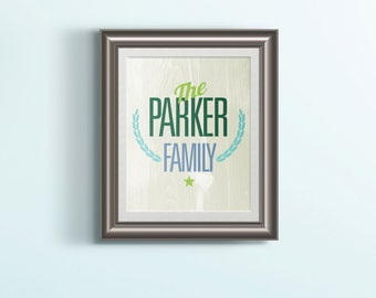 Personalized Family Print — Wedding Anniversary Gift Family Name Customized Print 8x10