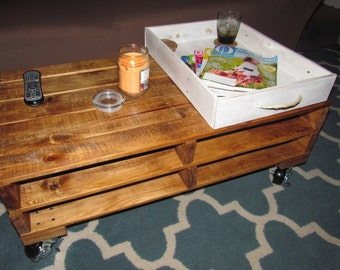 Rustic, Recycled, reclaimed pallet wood coffee table with wheels
