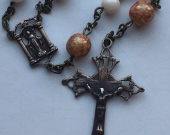 Handmade Rosary, Solid Bronze, Vintage Replica Crucifix, Miraculous Medal Center Shell Beads, Czech Glass, Warm Colors, Free Ship USA