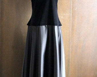 vintage black velvet dress, silver grey metallic bottom, short sleeve, long gown, elegant party dress