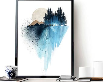 blue mountain wall art art print watercolor poster nature print modern blue - Home Wall Decor
