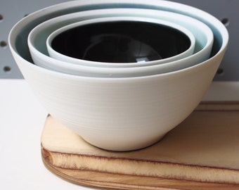 White Porcelain Serving Bowl Set. Grey, Azure and Black glazed. Handmade wheel thrown ceramic porcelain pottery.