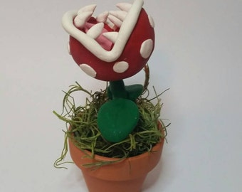 Piranha Plant sculpture - Super Mario Bros Figure - Mario Plant desk accessory - Potted Pirhana Plant - Mario Ornament - Nintendo gifts
